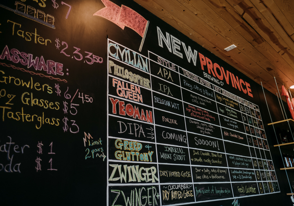New Province is a local craft brewery where you can enjoy a variety of beers including IPAs, APAs,  Belgium Wits, Porters, and Stouts.