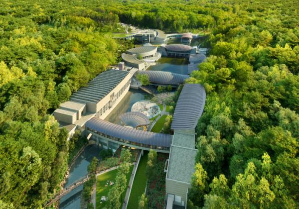 Expansion coming soon! Aerial of Crystal Bridges looking south. Courtesy of Safdie Architects.